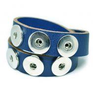 Bratara Piele Unisex Wrap Strat Dublu - Albastru A18022