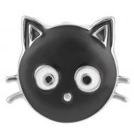 Bijuterie Buton Interschimbabil |  Cap de Pisica Neagra Vintage | Animal | Metal