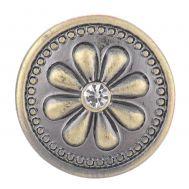 Bijuterie Buton Interschimbabil |  Floare Margareta cu Cristal Alb | Vintage | Bronz