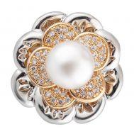 Bijuterie Buton Interschimbabil | Floare cu Perla Mare si Cristale de Zirconiu | Luxury | Cupru