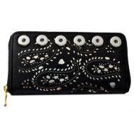 Portofel dama din piele ecologica cu imprimeuri pentru telefon - negru F00166