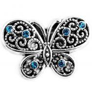 Bijuterie Buton Interschimbabil Fluture Antic Vintage cu Strasuri Albastre - D03399