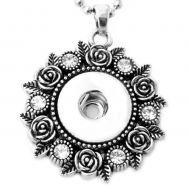 Colier Retro Cu Pandantiv Trandafiri si Cristale - Argintiu P00736