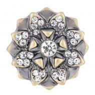 Bijuterie Buton Interschimbabil |  Floare Reliefata cu Petale Aurite si Cristale Albe| Vintage | Metal