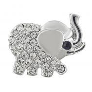 Bijuterie Buton Interschimbabil |  Elefant Argintiu cu Cristale Albe  | Animal | Metal