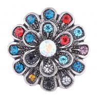 Bijuterie Buton Interschimbabil | Explozie Florala Vintage cu Cristale Multicolore | Vintage | Metal