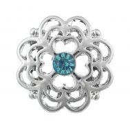 Bijuterie Buton Interschimbabil | Floare Argintie cu Cristal Azur  | Fashion | Metal