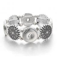 Bratara Metalica Elastica pentru 4 Butoni | Argintiu cu Cristale Albe | Vintage | Metal