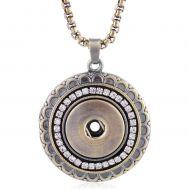 Colier Metalic Bronz Ajustabil cu un Pandantiv pentru Buton cu Cristale Albe | Vintage
