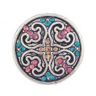 Bijuterie Buton Interschimbabil | Cristale multicolore incrustate in 2 culori  | Vintage | Metal