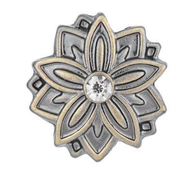 Bijuterie Buton Interschimbabil |  Floare de Colt cu Cristal Alb | Vintage | Bronz