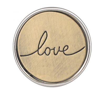 Bijuterie Buton Interschimbabil | Mesaj Iubire Inscriptionat Love | Vintage | Bronz