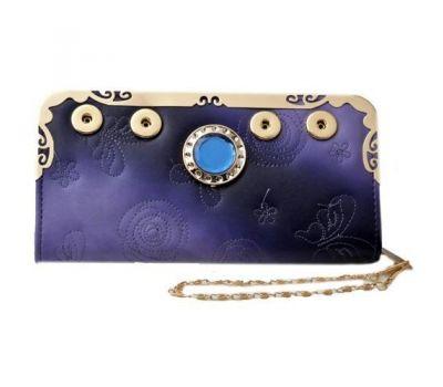 Portofel dama - piele ecologica - imprimeu fluture si cristal - albastru violet P00255