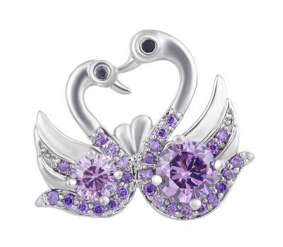 Bijuterie Buton Interschimbabil   2 Lebede din Alama si Pietre de Zirconiu Violet   Luxury   Cupru