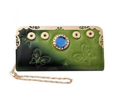 Portofel dama - piele ecologica - imprimeu fluture si cristal - verde P00252