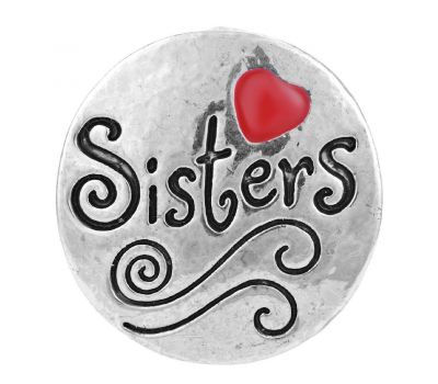 "Bijuterie Buton Interschimbabil |  Mesaj Inscriptionat ""Sisters"" cu Inima Rosie | Vintage | Metal"