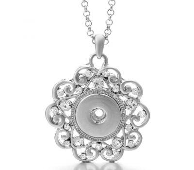 Colier cu Pandantiv Floare Dantelata cu Cristale Albe | Fashion