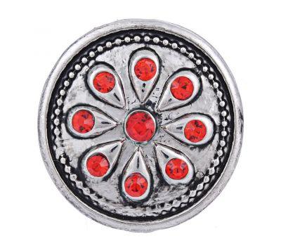 Bijuterie Buton Interschimbabil | Model Floral Celtic cu Cristale Rosii | Vintage | Metal