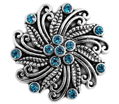 Bijuterie Buton Floare Antica Vintage cu Strasuri Albastre - D03374