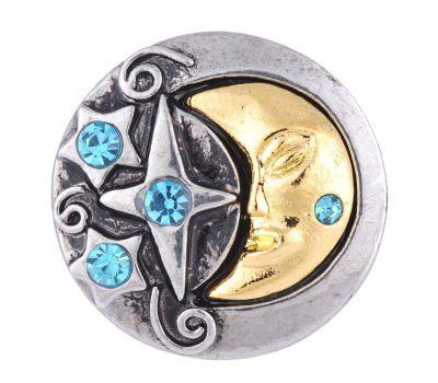 Bijuterie Buton Interschimbabil |  Luna Aurie cu Stele din Cristale in 2 Culori  | Vintage | Metal