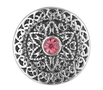 Bijuterie Buton Interschimbabil |  Floare Model Celtic Argintiu cu Cristal Roz | Vintage | Metal
