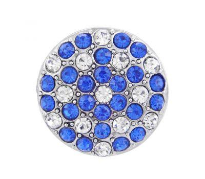 Bijuterie Buton Interschimbabil | Cristale Multiple Albe cu Albastru Bleumarin  | Fashion | Metal