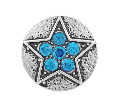 Bijuterie Buton Interschimbabil | Stea cu Cristale incrustate albastre azur | Vintage | Metal