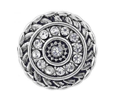 Bijuterie Buton Interschimbabil |  Model Retro Argintiu cu Multiple Cristale Albe  | Vintage | Metal