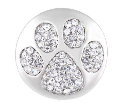 Bijuterie Buton Interschimbabil | Labute de Catel sau Pisica din cristale albe| Animal | Metal