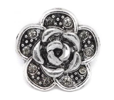 Bijuterie Buton Trandafir Vintage Antic Cristale Albe - D01819