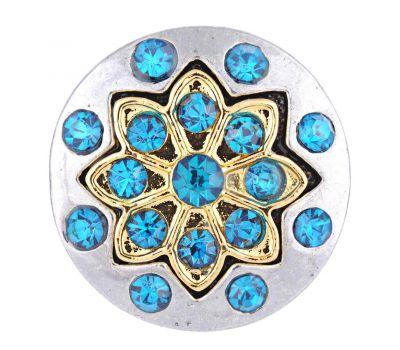 Bijuterie Buton Interschimbabil | Design Stelar Celtic Auriu cu Cristale Albastru Azur | Vintage | Metal