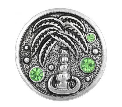 Bijuterie Buton Interschimbabil | Vara cu Palmier si Cristale incrustate | Vintage | Metal
