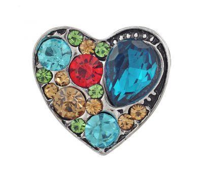 Bijuterie Buton Interschimbabil | Inima cu Cristale Multicolore | Fashion | Metal