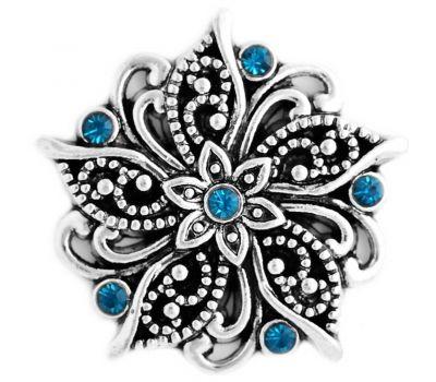 Bijuterie Buton Vintage - Floare Antica Reliefata cu Strasuri Albastre - D03321