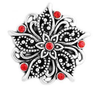 Bijuterie Buton Vintage - Floare Antica Reliefata cu Strasuri Rosii - D03320