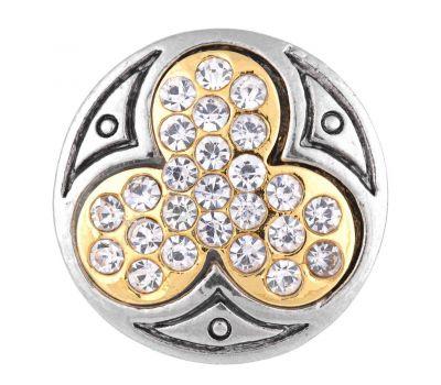 Bijuterie Buton Interschimbabil Trifoi Norocos Placat Auriu cu Cristale, fig. 1