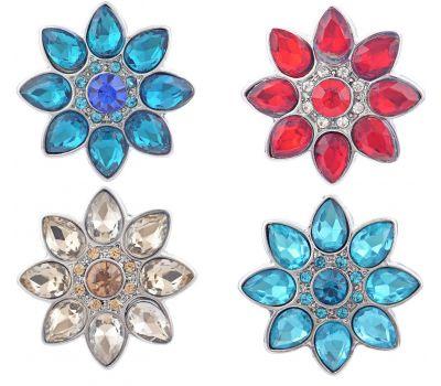 Bijuterie Buton Interschimbabil Model Floral Cu Cristale in 4 culori, fig. 1