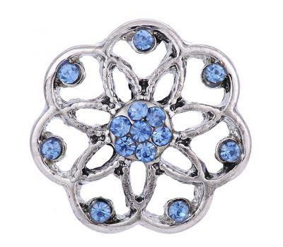 Bijuterie Buton Interschimbabil |  Ornament Floral cu Cristale in 2 Culori | Vintage | Metal