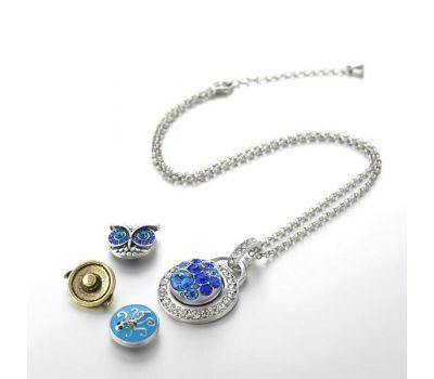 Colier din Otel Inoxidabil Pandantiv Interschimbabil cu Cristale Albe | Fashion