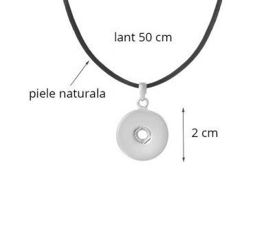 Lantisor cu Pandantiv Interschimbabil din Piele Naturala Neagra   Fashion