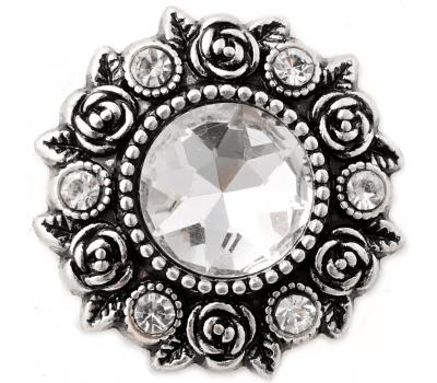 Buton Interschimbabil Floare cu Cristal si Strasuri in 3 Culori | Vintage