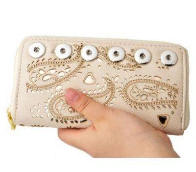 Portofel dama din piele ecologica cu imprimeuri pentru telefon - crem F00069