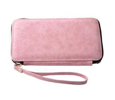 Portofel dama din piele ecologica pentru telefon - roz somon F00356