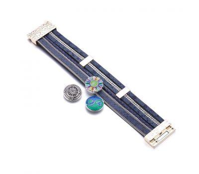Bratara Interschimbabila Multistrat Albastra din Piele PU Inchidere Magnetica | Fashion