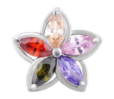 Bijuterie Buton Interschimbabil   Stea Florala din Alama si Pietricele de Zirconiu   Luxury   Cupru