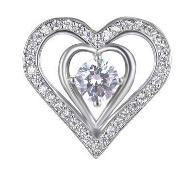 Bijuterie Buton Interschimbabil   Inima din Alama si Pietricele de Zirconiu   Luxury   Metal