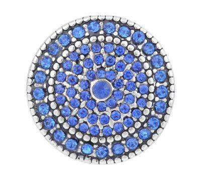 Bijuterie Buton Interschimbabil |  Vintage Circular Premium cu Multiple Cristale Albastre in 2 Variante | Metal
