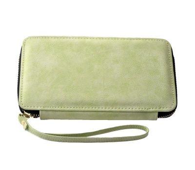 Portofel dama din piele ecologica pentru telefon - verde F00355