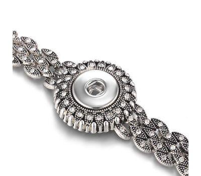Bratara Interschimbabila Eleganta | Argintiu Vintage cu Cristale Incrustate Albe | Vintage