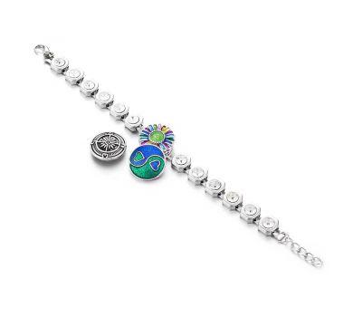 Bratara Interschimbabila din aliaj | Argintiu cu cristale | Ajustabila cu o capsa pentru buton